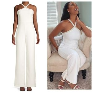 LIKELY Ashland White Criss Cross Pearl Jumpsuit
